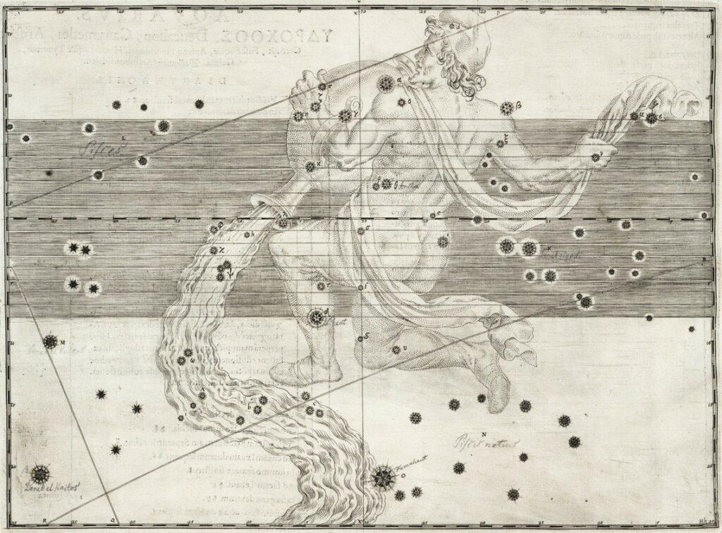 Het sterrenbeeld Aquarius uit de steratlas van Johann Bayer