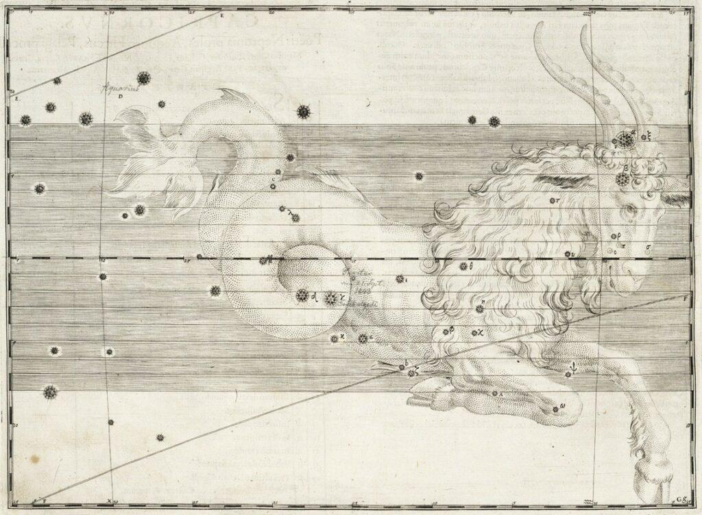 Het sterrenbeeld Capricornus uit de steratlas van Johann Bayer
