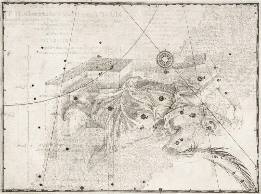 Het sterrenbeeld Cassiopeia ui de steratlas van Johann Bayer