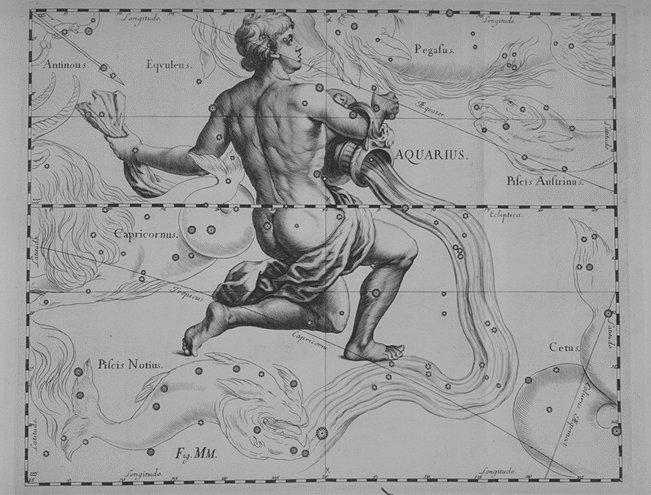 het sterrenbeeld Aquarius uit de steratlas van Johannes Hevelius