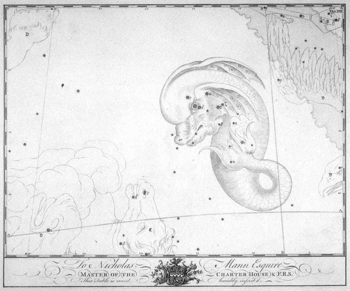 Het sterrenbeeld Delphinus uit de steratlas van John Bevis