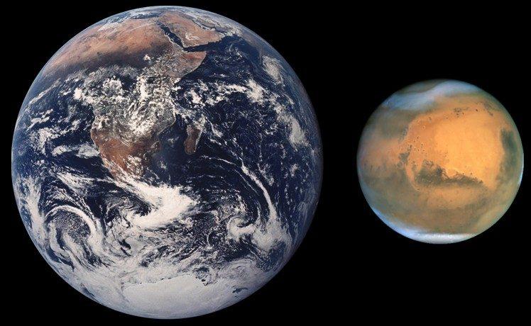Mars en de Aarde
