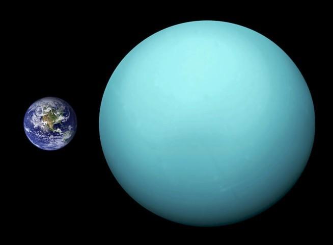 Uranus en de Aarde