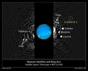S/2004 N1, de veertiende maan van Neptunus op opnames gemaakt met de Hubble Space Telescope (NASA/STScI)