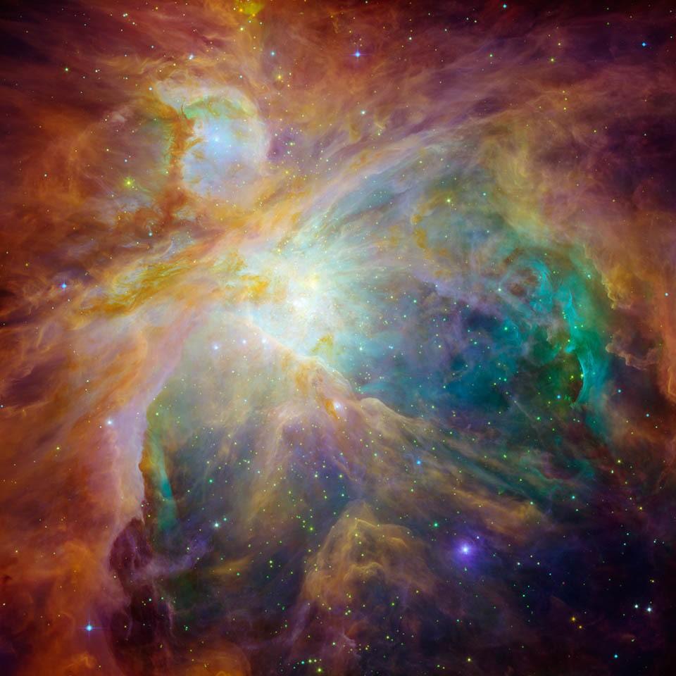 De Orion nevel in infrarood licht.