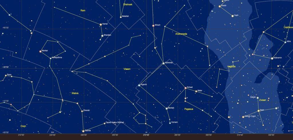 De sterrenhemel boven de westelijke horizon