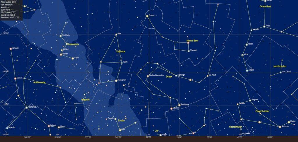 De noordelijke sterrenhemel in februari 2018