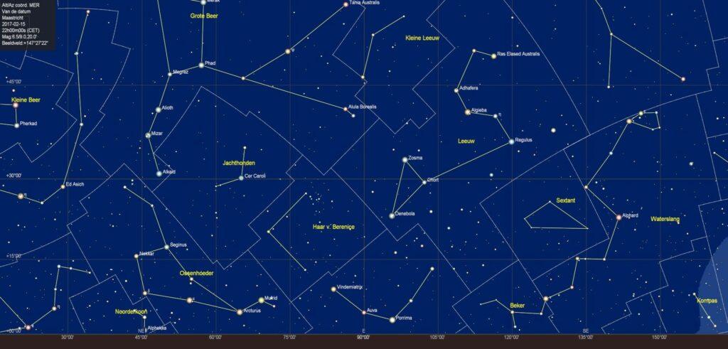 De oostelijke sterrenhemel in februari 2018