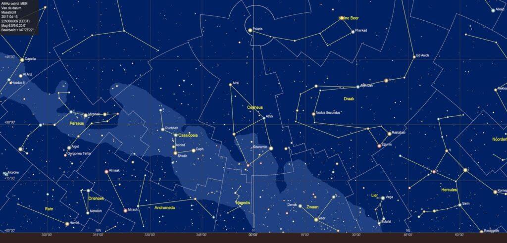 De sterrenhemel boven de noordelijke horizon in april