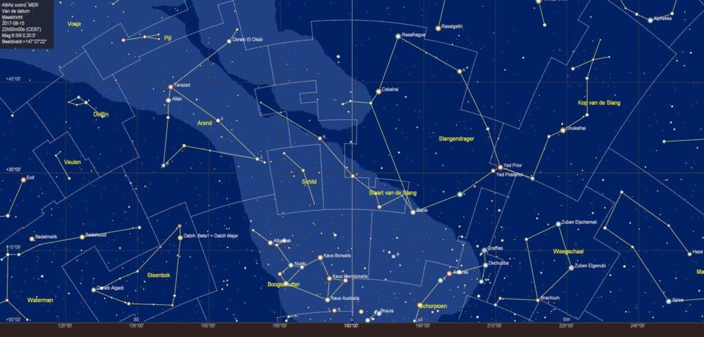 De sterrenhemel boven de zuidelijke horizon