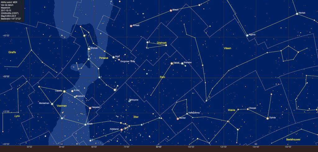 De sterrenhemel in het oosten
