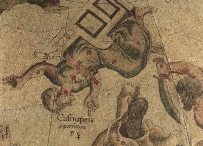 Cassiopeia volgens Mercator