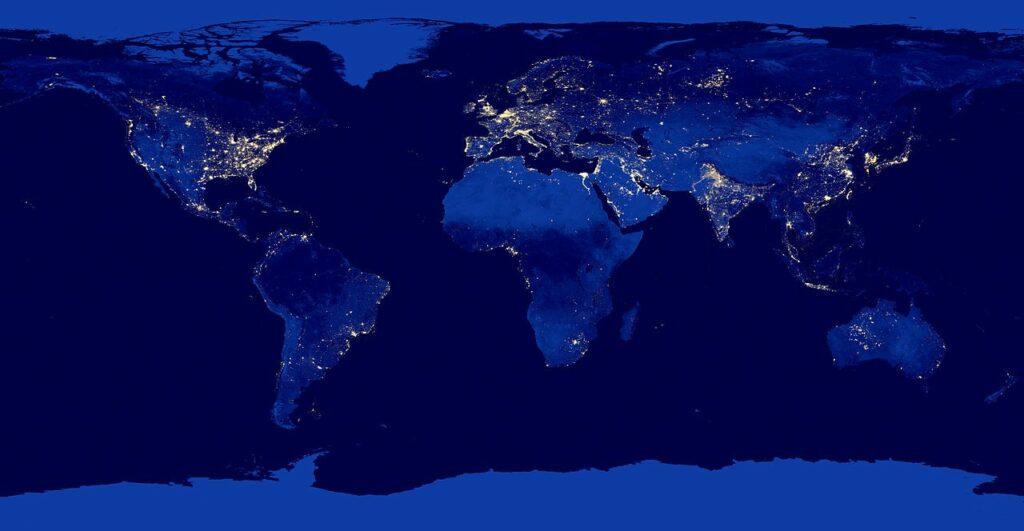De Aarde bij nacht