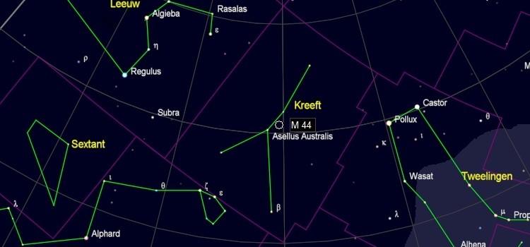 Zoekkaart voor M44 in de Kreeft