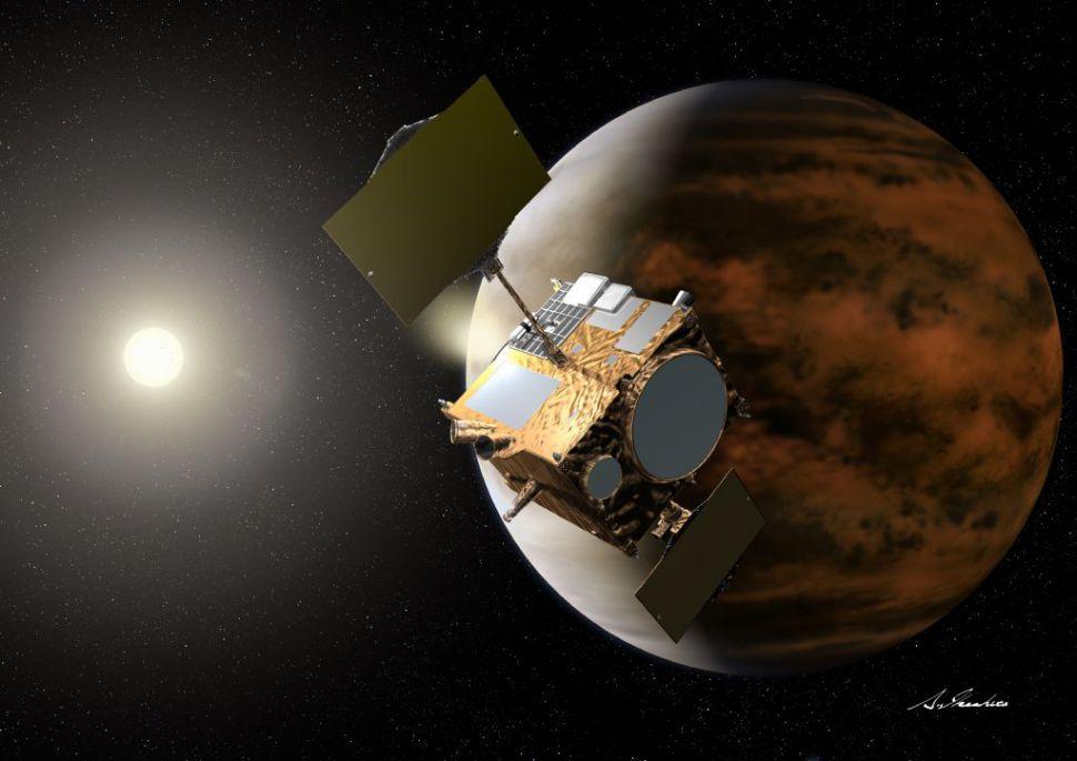 De Japanse ruimtesonde Akatsuki bij Venus
