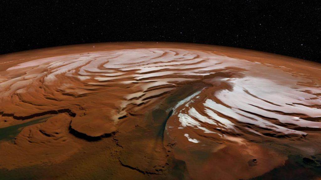 De noordelijke poolkap van Mars