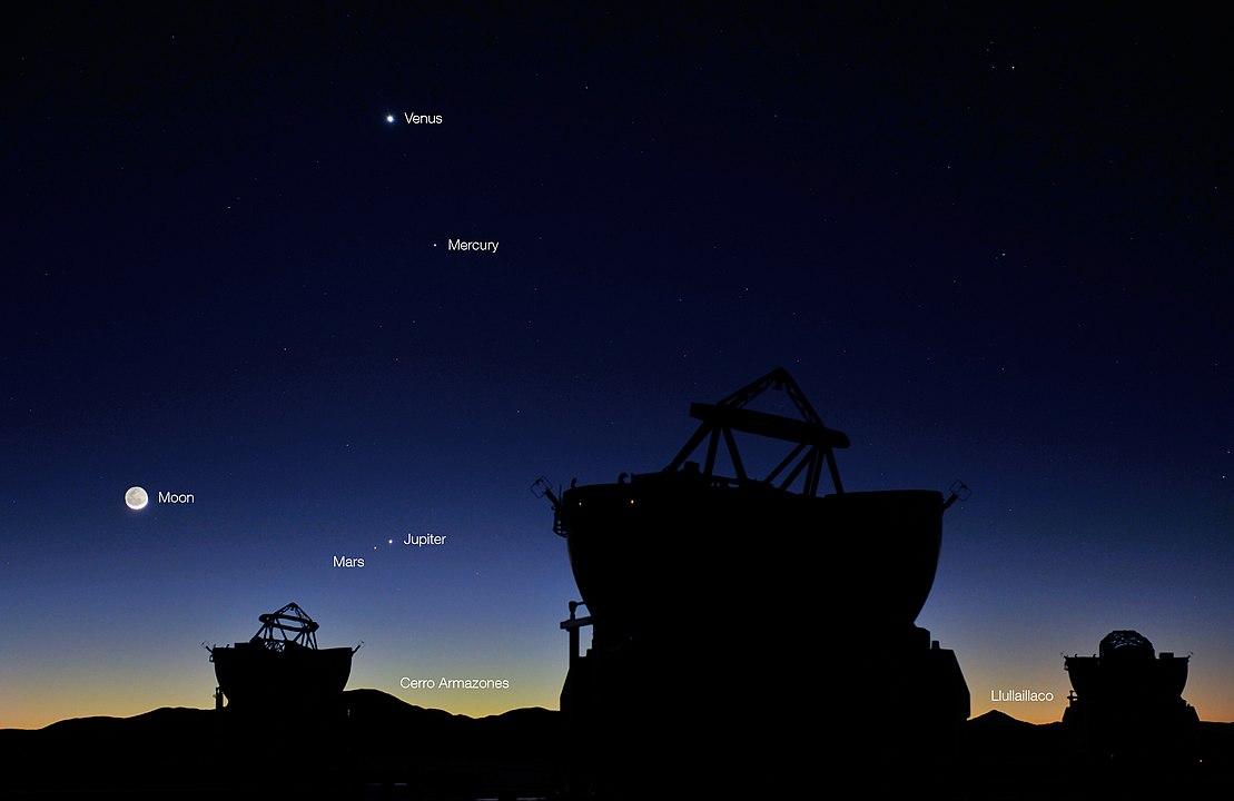 Conjunctie tussen Venus en Mars op 1 mei 2011