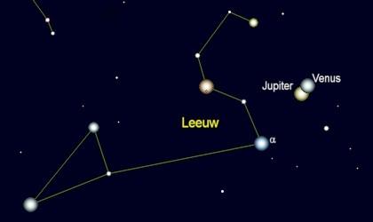 sammenstand Venus en Jupiter op 11 augustus 3 v. Chr.