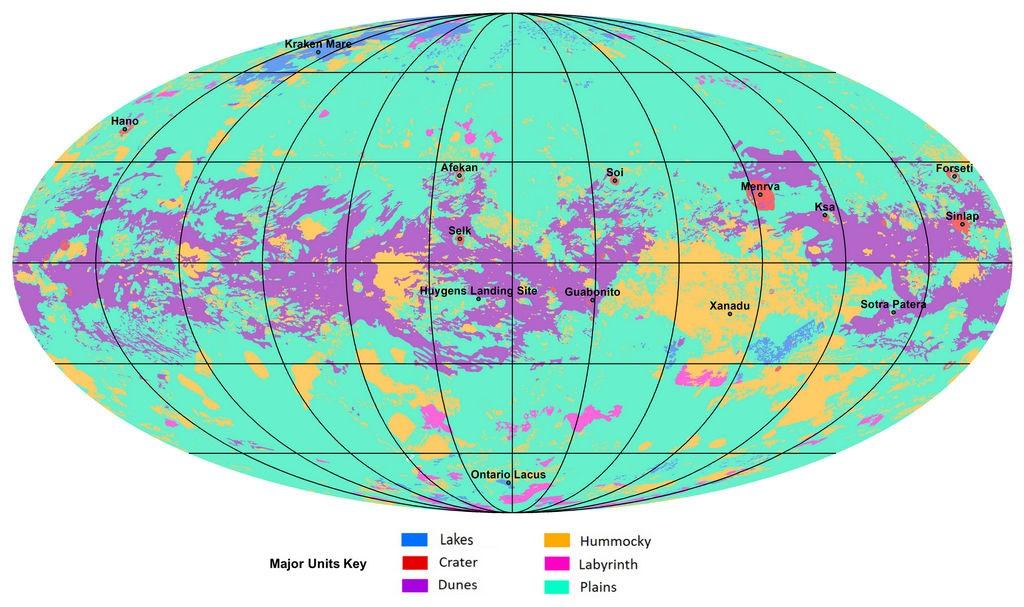 De eerste geologische kaart van Titan