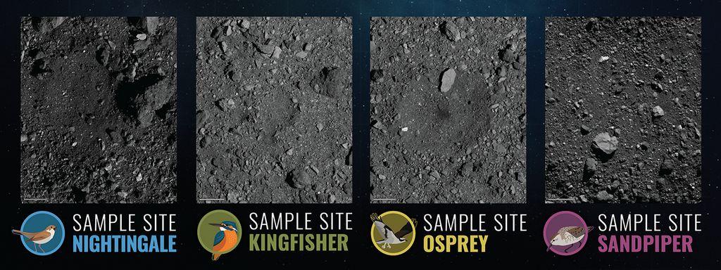 De vier beoogde landngsplaatsen op asteroïde Bennu