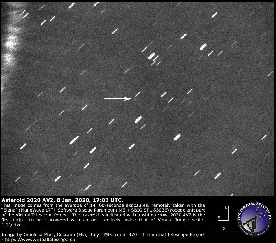 Asteroïde 2020 AV2 gefotografeerd op 8 januari 2020