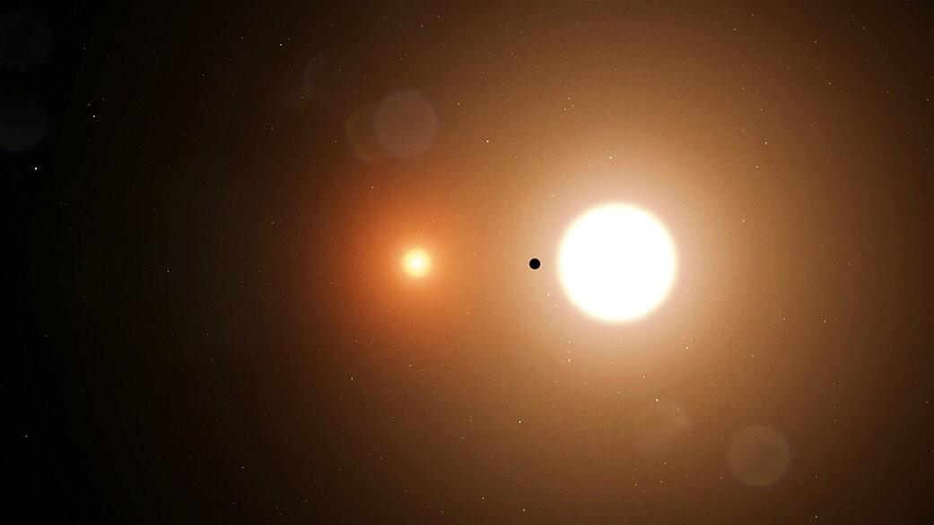 artist impression van de exoplaneet TOI 1338 b