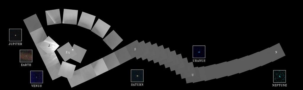 Familieportret van ons zonnestelsel gemaakt door Voyager 1