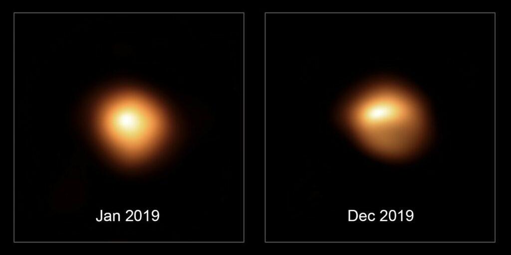 Betelgeuze in januari 2019 en december 2019