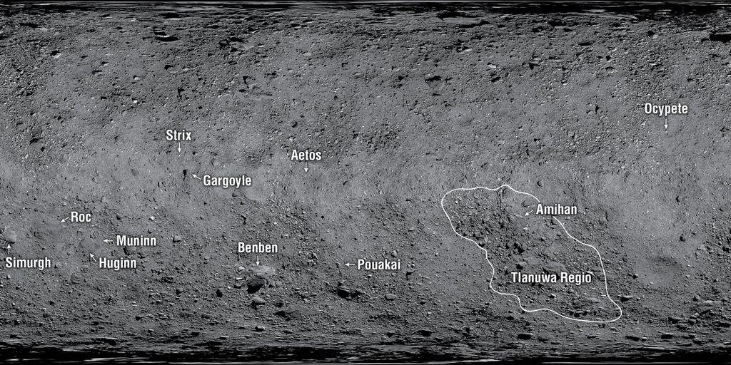 Namen voor structuren op asteroïde Bennu