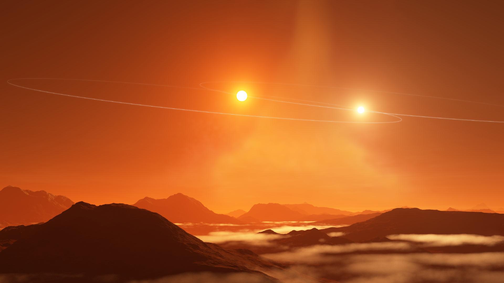 Tatooine exoplaneet in een baan rond een dubbelster
