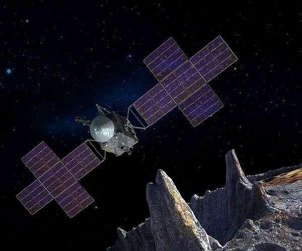 Artist impressie van  de Psyche ruimtesonde en asteroïde