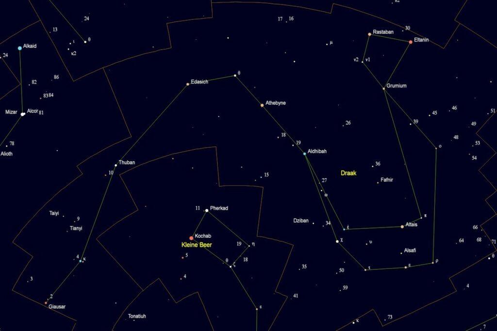 Het sterrenbeeld Draak met de namen van de sterren