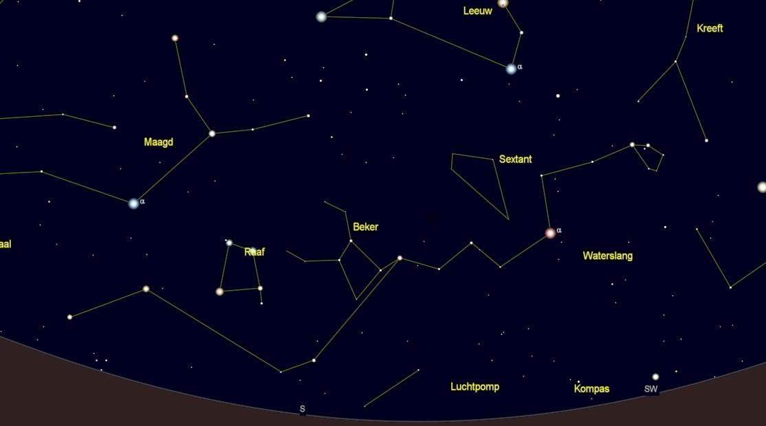 kaart sterrenbeeld Hydra - Waterslang