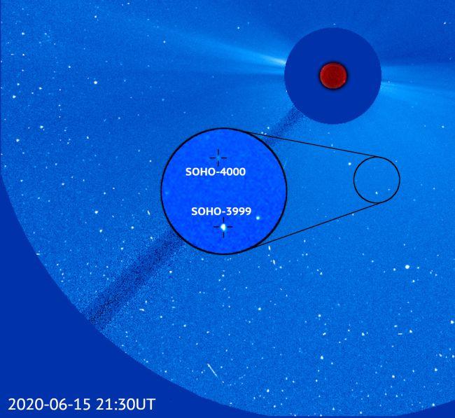 Opname met komeet SOHO-3999 en SOHO-4000