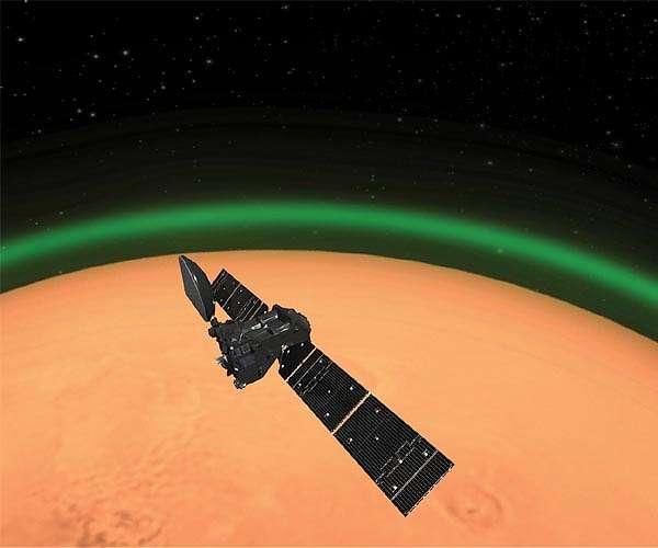 Trace Gas Orbiter van de ESA ziet groene zuurstof gloed op Mars