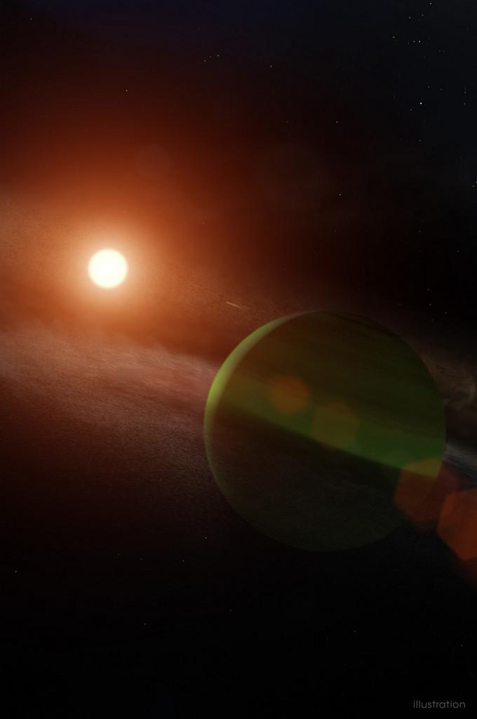 AQrtist impressie exoplaneet AU Microscopii b