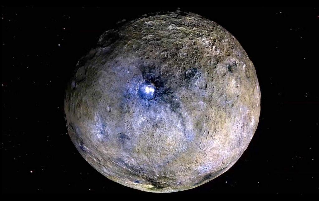 Dwergplaneet Ceres in valse kleuren