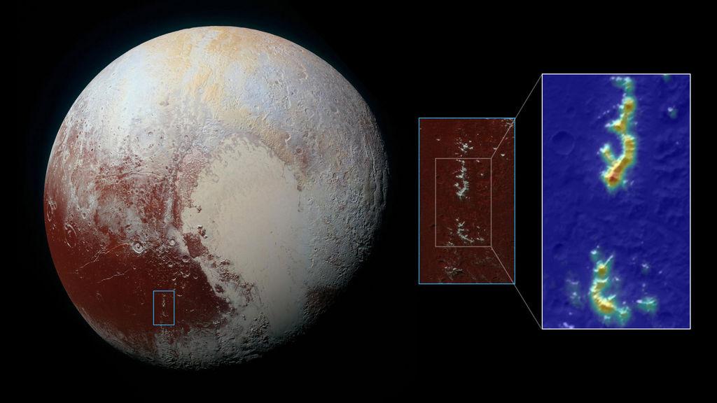 Methaanijs op bergen van Pluto