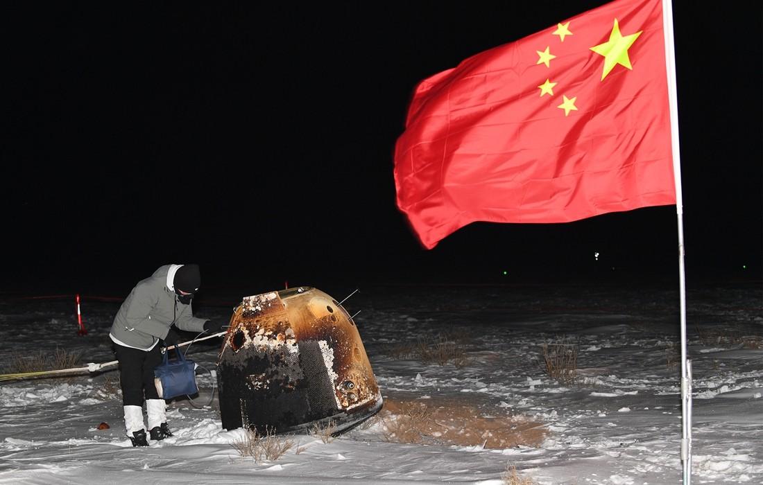 Chang'e 5 landt met maanstenen op Aarde