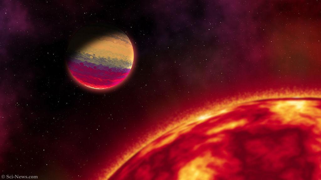 Artist impressie van de exoplaneet HAT-P-68b