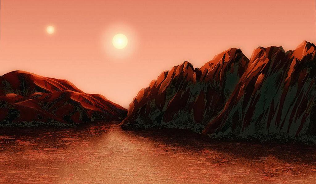 Deze artistieke impressie toont een hypothetische aardse planeet in het Alpha Centauri systeem