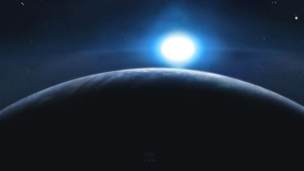 Artist impressie van de exoplaneet Wega b