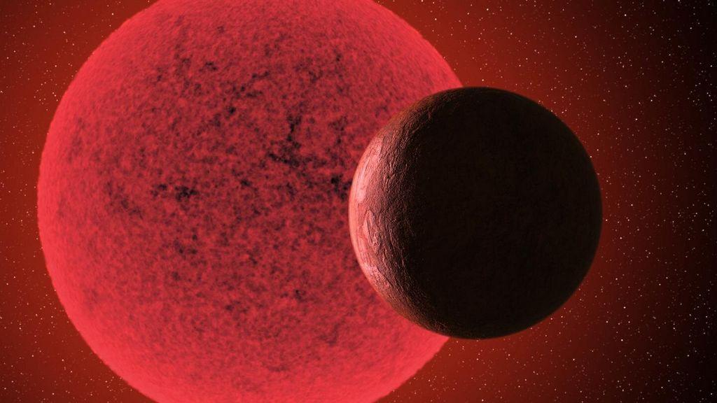 Artist impressie van de super-Aarde in een baan rond de rode dwerg GJ-740