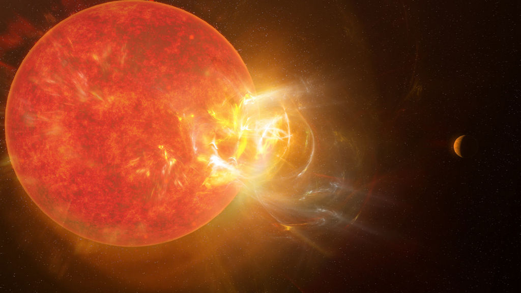 uitbarsting op proxima centauri - artist impressie