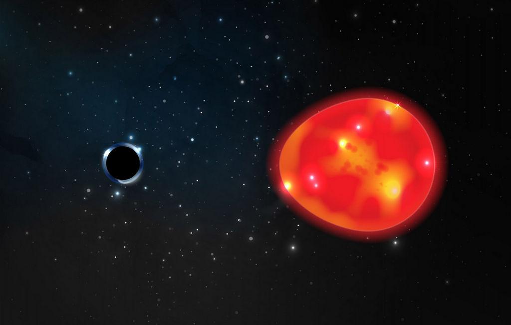 Illustratie van een klein zwart gat
