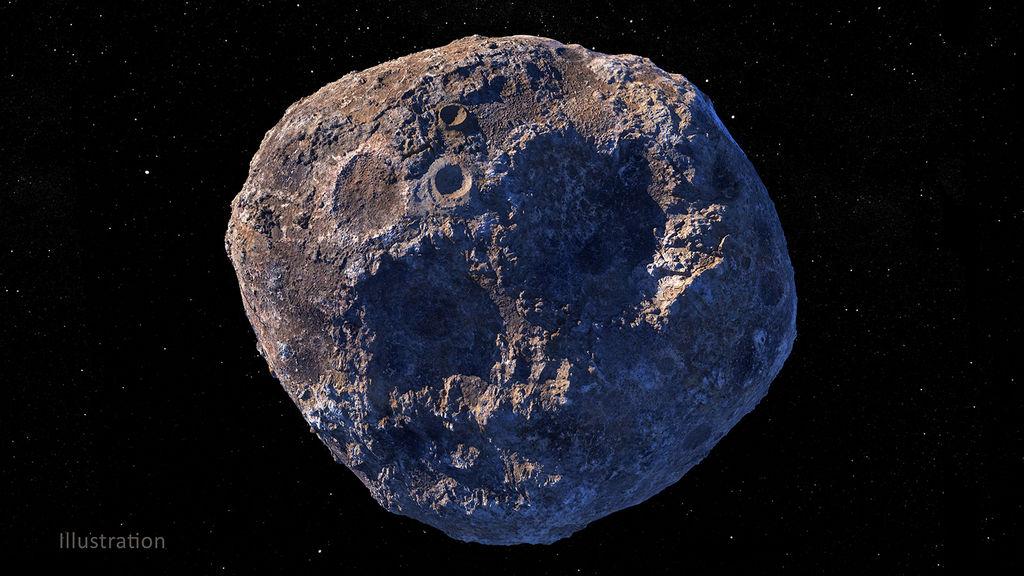 Artist impressie van de asteroïde Psyche
