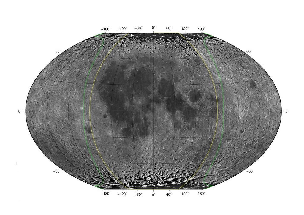 Kaart van de Maan met de maximale libraties