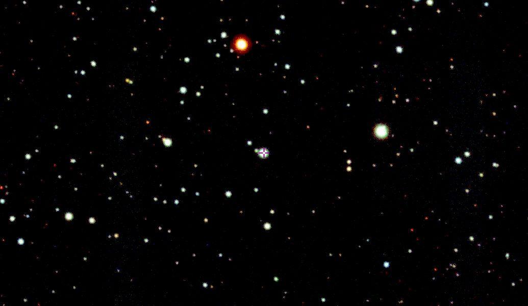 De ster SMSS J200322.54-114203.3 in het centrum. afbeelding uit de SkyMapper Survey