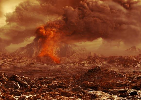 Artist impressie van een vulkaanuitbarsting op Venus