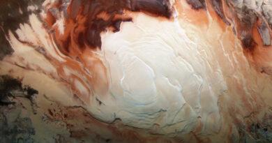 Zuidpoolgebied van mars vastgelegd door de Mars Express